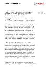 Presse-Information Reichweite und Bedienkomfort im ... - Bosch
