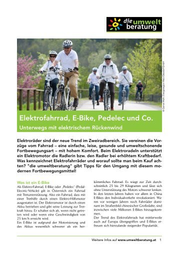 Elektrofahrrad, E-Bike, Pedelec und Co. - Umweltberatung