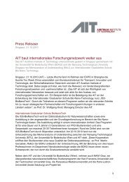 Press Release AIT baut internationales Forschungsnetzwerk weiter ...
