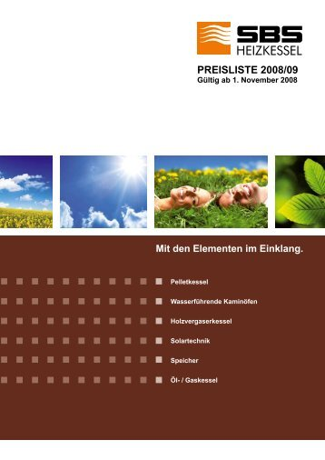 SBS Preisliste 2008 - SBS Heizkessel GmbH