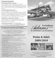 Preise & Info's 2009/2010 - Urlaub in Schlehdorf am Kochelsee