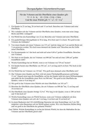 Übungsaufgaben Volumenberechnungen Für das Volumen und die ...