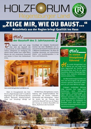 """""""Zeige mir, wie du baust..."""" - Holzforum Regensburger Land"""