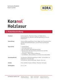 Koranol® Holzlasur 1. Produktbeschreibung - KORA Holzschutz
