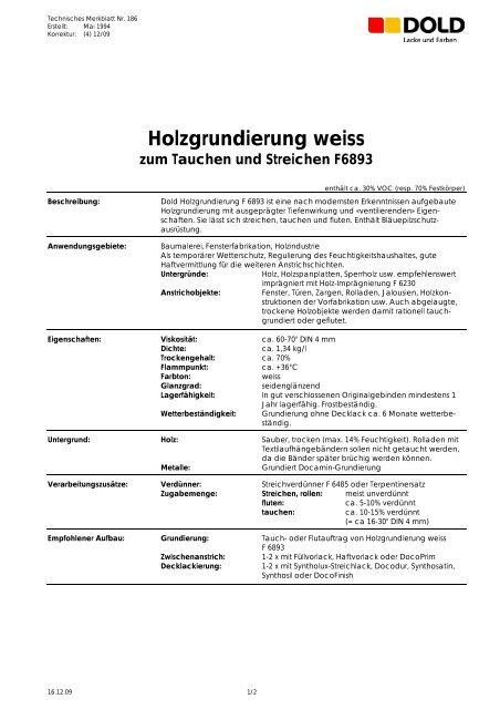 Holzgrundierung Weiss Zum Tauchen Und Streichen F6893