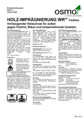 HOLZ-IMPRÄGNIERUNG WROP - Weber Baustoffe GmbH