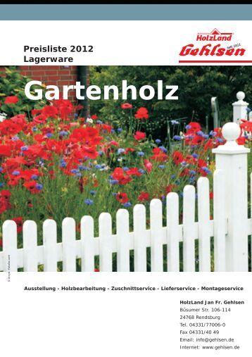 Preisliste 2012 Lagerware Gartenholz - Jan Fr. Gehlsen