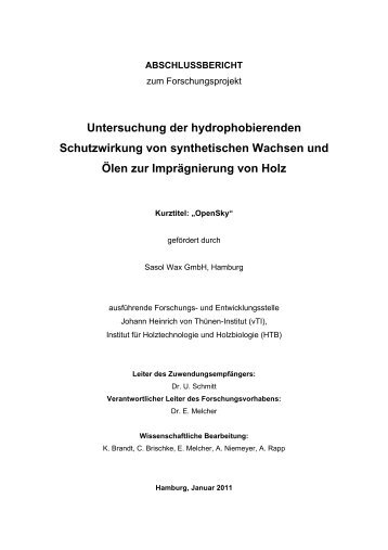 Untersuchung der hydrophobierenden Schutzwirkung von ... - vTI