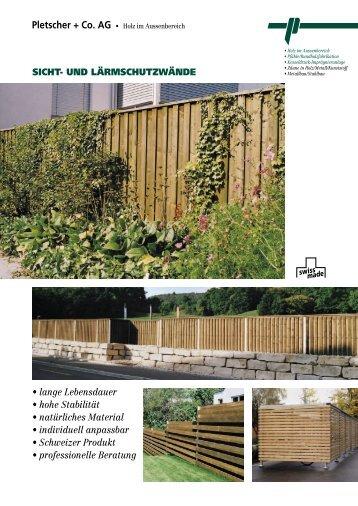 Sicht- und Lärmschutzwände - Pletscher & Co. AG