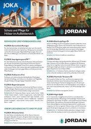 Schutz und Pflege für Hölzer im Außenbereich - Jordan Holz