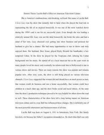 1 Honors Thesis: Lucille Ball's Effect on American Television Culture ...