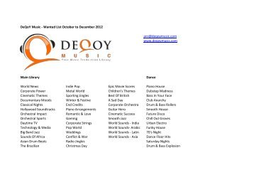 DeQoY Music -‐ Wanted List October to December 2012 anr ...
