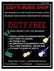 EZZY'S MUSIC SHOP Take advantage of our