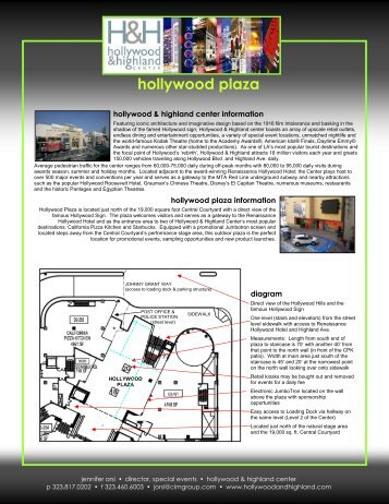 Hollywood Plaza Information - Hollywood and Highland