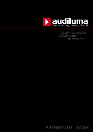 mietpreisliste - audiluma - Veranstaltungstechnik GmbH