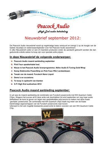 Peacock Audio- Nieuwsbrief september 2012.