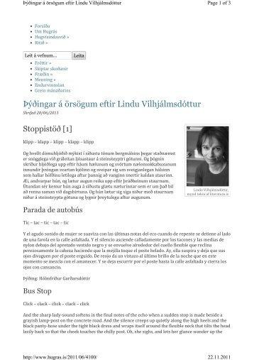 Þýðingar á örsögum eftir Lindu Vilhjálmsdóttur