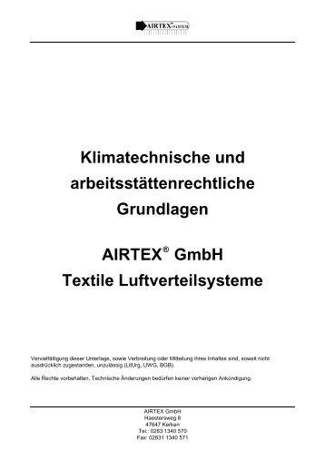 Klimatechnische und arbeitsstättenrechtliche Grundlagen AIRTEX