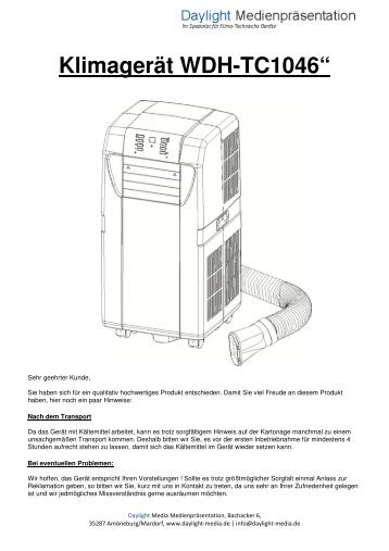 Klimagerät WDH-TC1046 - daylight-media.de