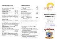Preisinformation Sommer 2012 - Brunni Engelberg