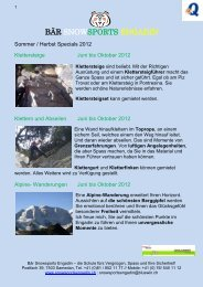 Sommer / Herbst Specials 2012 - Snowsports-Engadin