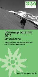 Sommerprogramm 2011 - Sektion USC München des DAV