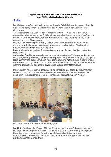 Klettern der R10B und R9B in der Cube - Karl-Weigand-Schule
