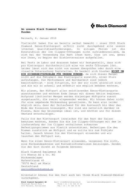 Reinach, 6. Januar 2010 - Produktrueckrufe.de