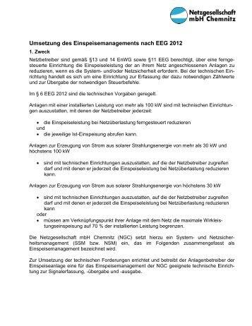 Infoblatt Einspeisemanagement - Netzgesellschaft mbH Chemnitz