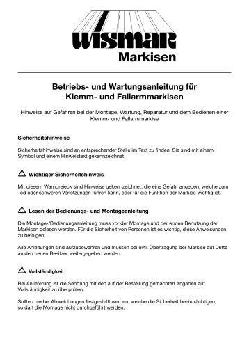 Klemm- und Fallarmmarkisen - Isabella Markisen