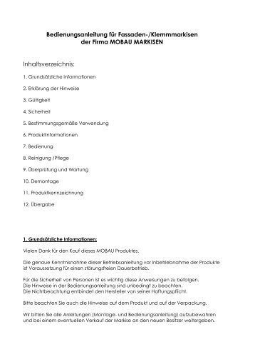 Bedienungsanleitung - Mobau Markisen