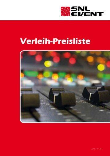 Verleih-Preisliste - SnL Event, Veranstaltungstechnik Witten