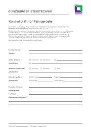 Kontrollblatt für Fahrgerüste - Günzburger Steigtechnik GmbH