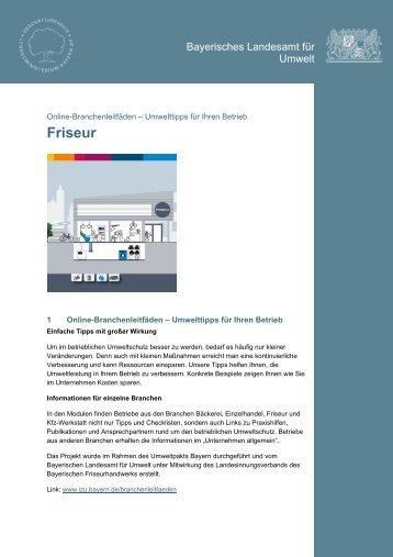 Friseur - Infozentrum UmweltWirtschaft - Bayern