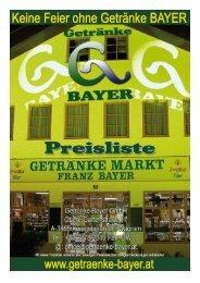 Bayerwein (Boutellenwein siehe eigene Liste) - Getränke Bayer