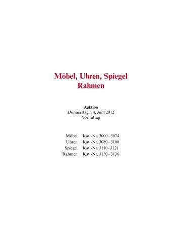 Möbel, Uhren, Spiegel Rahmen - Galerie Fischer Auktionen AG