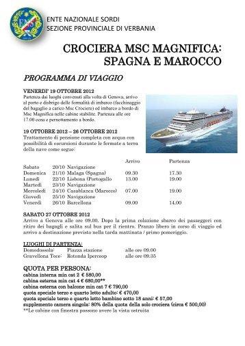 CROCIERA MSC MAGNIFICA: SPAGNA E MAROCCO - Ens Piemonte