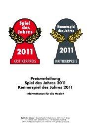 Preisverleihung Spiel des Jahres 2011 Kennerspiel des Jahres 2011