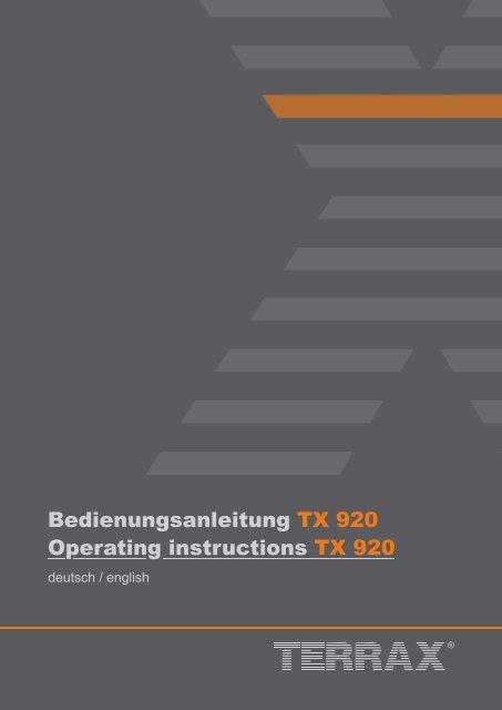 Bedienungsanleitung TX 920 Operating instructions TX 920