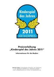"""Preisverleihung """"Kinderspiel des Jahres 2011"""" Informationen für die ..."""