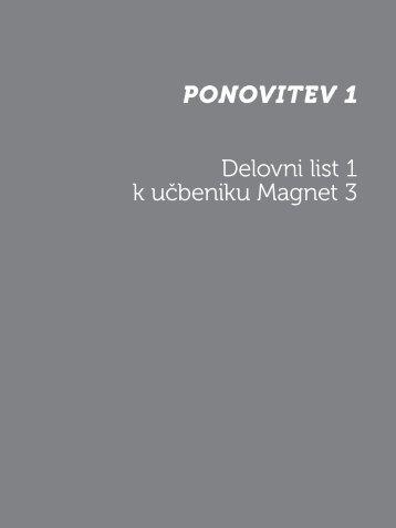 Ponovitev 1 Delovni list 1 k učbeniku Magnet 3 - Devetletka