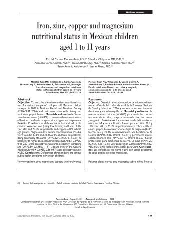 Iron, zinc, copper and magnesium nutritional status in Mexican ...