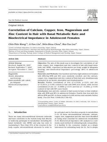 Correlation of Calcium, Copper, Iron, Magnesium and Zinc Content ...