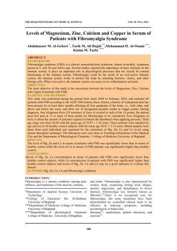 Levels of Magnesium, Zinc, Calcium and Copper in serum of ...