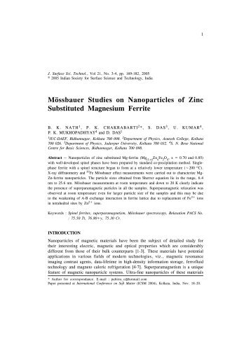 Mössbauer Studies on Nanoparticles of Zinc Substituted Magnesium ...