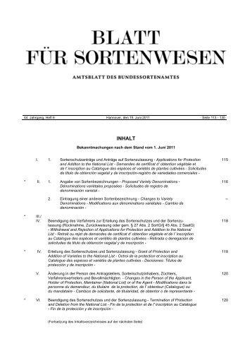 Juni 2011 - Bundessortenamt