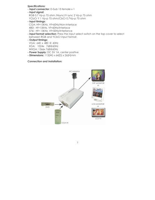 15k RGB CGA/Component YcbCr To VGA Converter