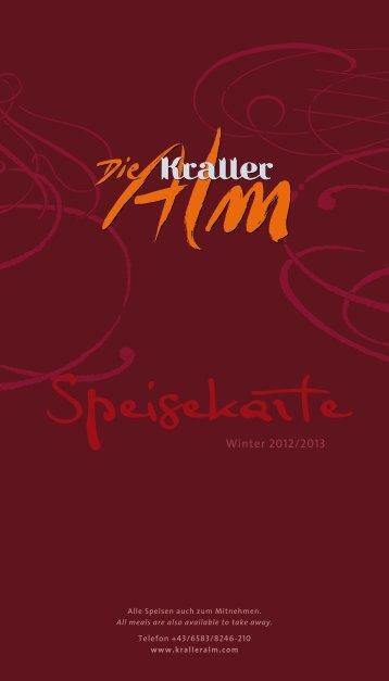 Speisekarte - KrallerAlm