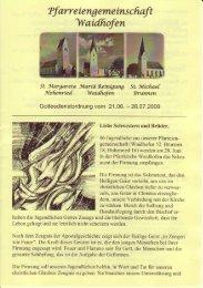 Kirchenanzeiger: 21. Juni - 26. Juli 2009