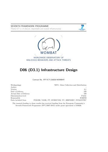 D06 (D3.1) Infrastructure Design - WOMBAT project